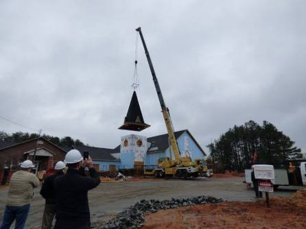 Adding the steeple after rebuilding